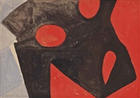 brown form on red & lilac by wilhelmina barns-graham
