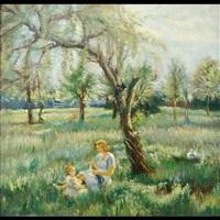 scena familiare in un giardino by giuseppe maldarelli