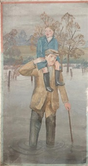 the flood ( three part wall mural, other part smaller) by mary adshead