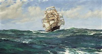 the clipper 'light brigade' in the deep atlantic by montague dawson