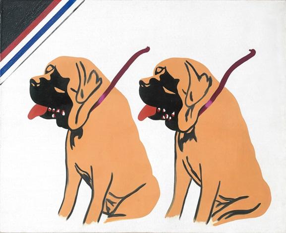 2 chiens de st bernard by eduardo arroyo