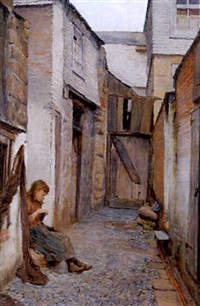 village girl in a lane by william eadie