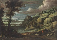 an extensive landscape with a castle on a hill above a bridge, with shepherds on a path and birdcatchers resting in the foreground by paul bril