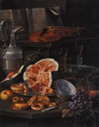 natura morta con spartito, violino, brocca con peltro, alzata con bicchieri, piatto con anguria e dolci, ciotola di porcellana cinese e uva by cristoforo munari