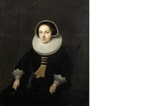 portrait of a lady, seated, three-quarter-length, in a black dress with a white ruff and lace cuffs by dirck dircksz van santvoort