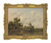 a river landscape with a man punting, a windmill beyond by richard h. hilder