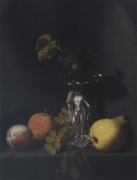 a peach, an orange, grapes, a pear, and blue grapes in a silver hercules tazza on a stone ledge in a niche by pieter van den bos