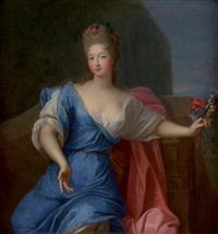 portrait de françoise marie de bourbon dite mademoiselle de blois tenant un bouquet de fleurs by pierre gobert