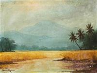pemandangan gunung dan sawah by frederik kasenda