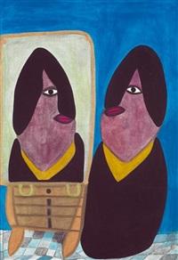 aïcha assise devant le miroir by serge vollin