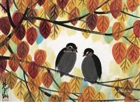 枫叶双鸟图 镜片 设色纸本 (maple leaves double birds) by lin fengmian