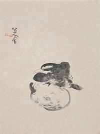 鸟 镜片 水墨纸本 by bada shanren