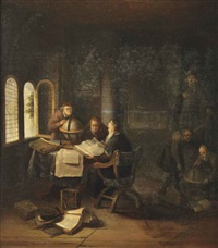 scholars in a study with books and globes by jacob van spreeuwen