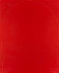 poured painting: red, light red, red (diptych) by ian davenport