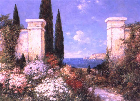 italian garden in bloom by f arnold