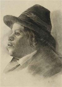 profilbildnis eines jungen mannes mit hut by johann rudolf koller