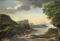 figures fishing on a riverbank, an extensive river landscape beyond by jacob de heusch