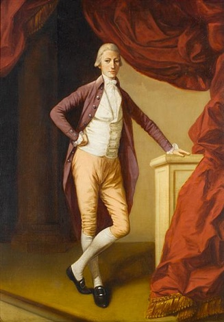 portrait of a young man full length in a crimson coat and a white waistcoat leaning on a stone plinth by johann joseph zoffany