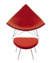 red coconut chair and ottoman (set of 2) by george nelson