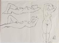 裸女素描图 镜片 纸本 by sanyu