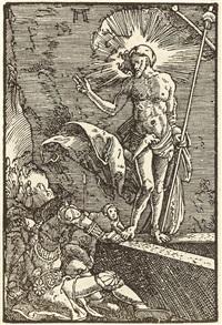 auferstehung - christus erscheint der magdalena (2 works from sündenfall und erlösung des menschengeschlechts) by albrecht altdorfer