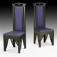 tall-back chairs (pair) by charles rohlfs