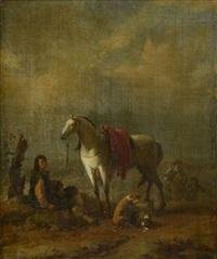 le repos du chasseur près de ses chiens by johannes lingelbach