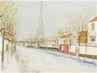 avenue de versailles et la tour eiffel by maurice utrillo