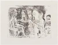 vieillard fantasmant: courtisane avec des hommes costumes rembrandtesque (from serie 347) by pablo picasso