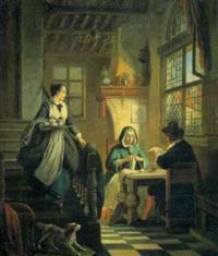 interieur mit ehepaar an einem tisch und magd mit serviertablett by william-louis angus
