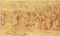 le départ pour la chasse by romanino (girolamo romani)