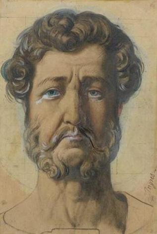 portrait du roi louis philippe pour sa représentation en saint philippe sur un vitrail de la chapelle saint louis de dreux by jean auguste dominique ingres