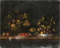 nature morte au panier et à la coupe de fruits près d'une assiette de framboises by paul dorival