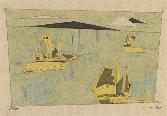 drei segelschiffe by lyonel feininger