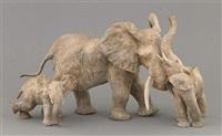 éléphante et ses deux éléphanteaux oklo, mayumba et mbigou by françois van den berghe