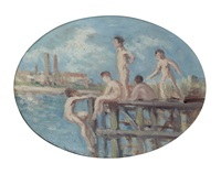 etude pour les baigneurs à rolleboise by maximilien luce