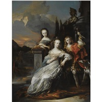 family portrait of a young boy, holding a falcon, together with his two sisters dressed in white satin gowns with blue shawls by jan van noordt