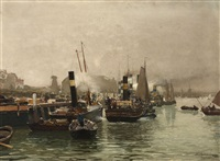 view of a dutch harbor by hans herrmann