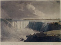 a view of the western branch of the falls of niagara, taken from the table rock... by john vanderlyn
