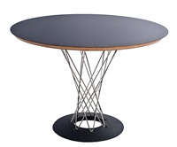 pour knoll. table ronde cyclone, plateau blanc by isamu noguchi