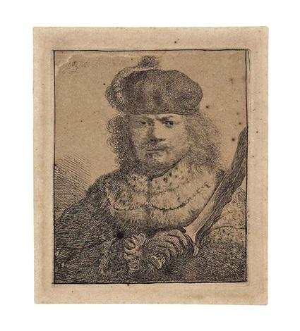 self portrait with raised sabre by rembrandt van rijn
