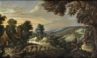 an extensive hilly landscape with farmsteads by kerstiaen de keuninck