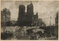 notre dame, paris (+ urquart castle, smllr; 2 works) by leonard russel squirrell