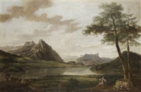 figures in a landscape (lakes of killarney?) by jonathan fisher