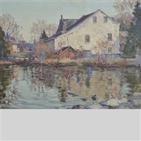 old mill, salmon river, ont. by manly edward macdonald
