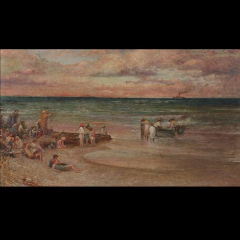 beach scene sea bright nj by louis comfort tiffany