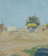 an isleta corral (isleta reservation, new mexico) by walter ufer