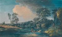 paysage animé à la cascade by alexandre jean noel