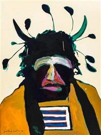 american portrait with santa fe headdress by fritz scholder