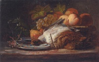 peaches, pears and grapes with two game birds in the foreground by françois frédéric grobon